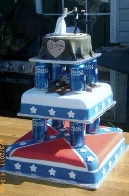 Funny Wedding Cake With Beer Cans In Between Tiers