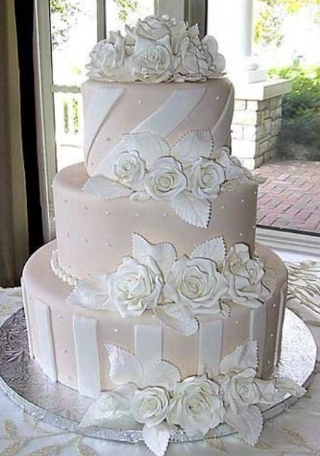 3 Tier Light Pink Wedding Cake With White Flowers Jpg
