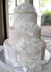 3 tier light pink wedding cake with white flowers.JPG