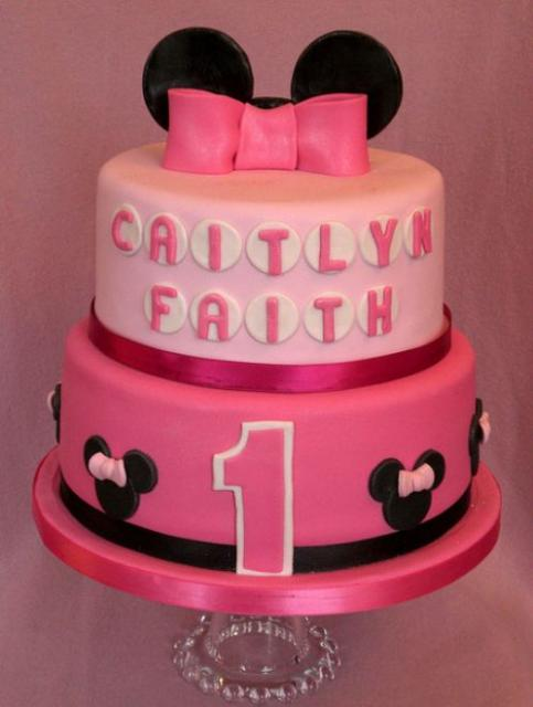 2 Tier Pink Disney Theme First Birthday Cake For Girlg