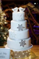 Round 4 tier Snow Flakes theme Wedding Cake Love Bird Toppers in White.JPG