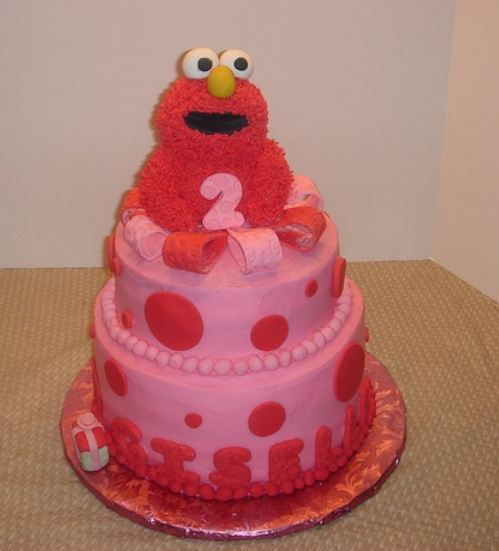Birthday Cake For 2 Year Old Baby Girl Pictures : 2 tier pink Elmo cake for 2-year-old.JPG