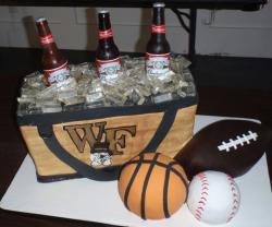 Beer and college sports theme Groom's Cake.JPG