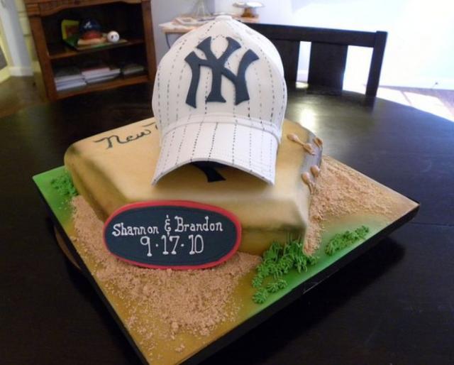 Pleasing Grooms Cake For New York Yankees Fan With Baseball Cap Jpg Funny Birthday Cards Online Benoljebrpdamsfinfo