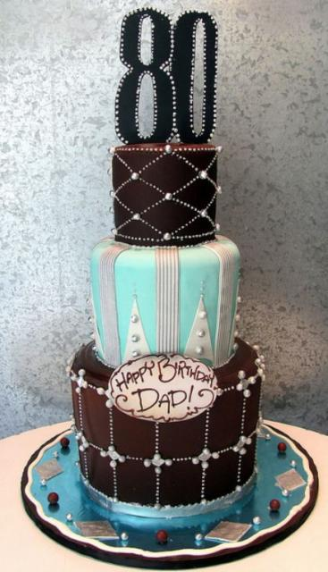 3 Tier Eightieth Birthday Cake With The Number 80 On Top Jpg