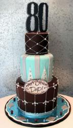 3 tier Eightieth Birthday Cake with the number 80 on top.JPG