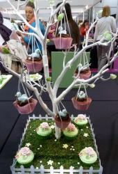 Spring theme Cupcakes hanging from Tree.JPG