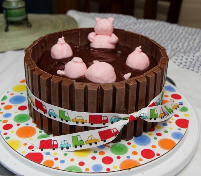 Kit Kat Pigs in Chocolate Mud Cake.JPG