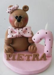 Teddy bear pink first birthday cake for girl.JPG