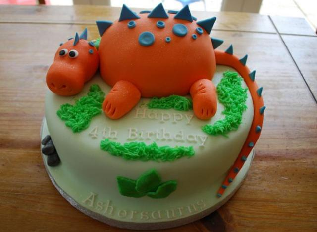 Fine Orange Dinosaur Round Birthday Cake For 4 Year Old Jpg Personalised Birthday Cards Veneteletsinfo