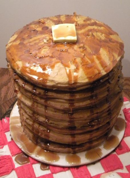 Stack of pancakes with butter on top cake.JPG