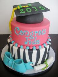Pink & Zebra Stripe Graduation Cake for Girl with Cap Diploma & blue Bow.JPG