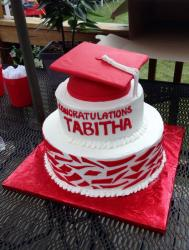 Red and White 2 Tier Graduation Cake with Cap on top.JPG