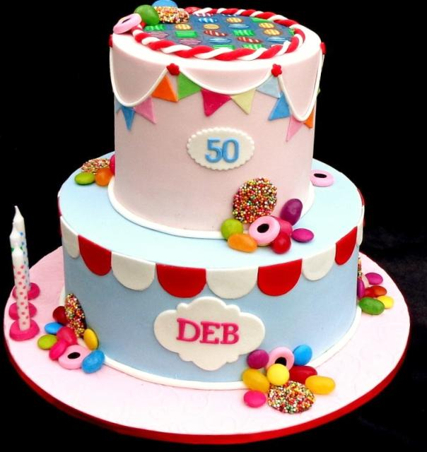2 Tier Candy Theme 50th Birthday Cake