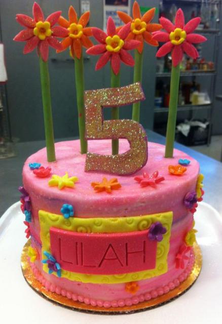 Round Pink Birthday Cake With Red Flowers And Stalks For 5 Year Old GirlJPG