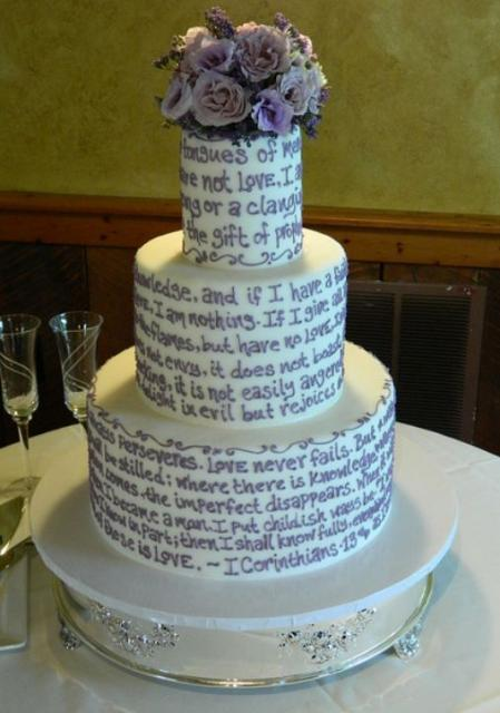 3 tier round white wedding cake with bible text jpg. Black Bedroom Furniture Sets. Home Design Ideas