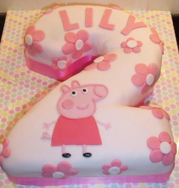 Pink Second Birthday Cake In The Shape Of The Number 2 For