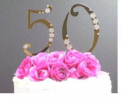 Pretty 50th anniversary cake topper with floral patterns.PNG