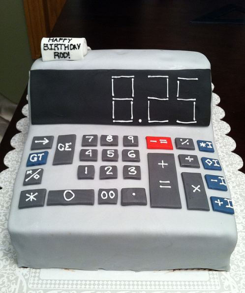 Calculator Birthday Cake With Happy Birthday Message On