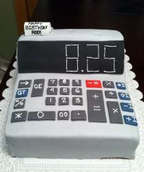 Calculator birthday cake with Happy Birthday message on receipt.JPG