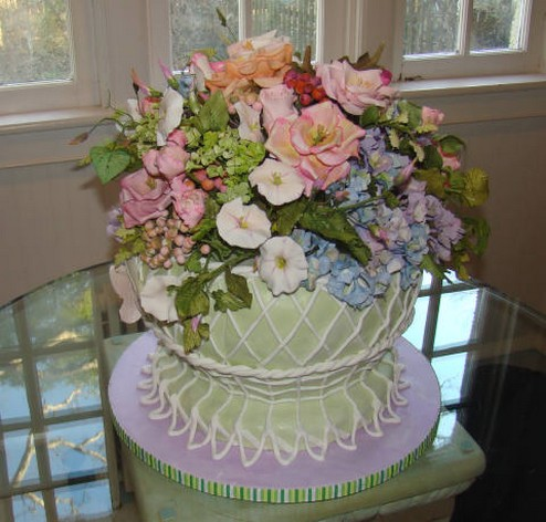 photograph of fresh flowers wedding cakes