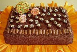 Rectangular chocolate cake with chcolate candy and swirl pops.JPG
