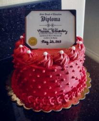 Red Graduation Cake with Diploma on top.JPG