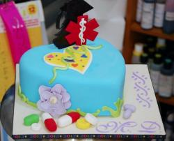 Medical Professional Heart Shaped Graduation Cake.JPG