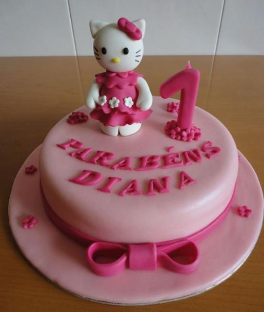Awesome Hello Kitty Pink Round First Birthday Cake Jpg Funny Birthday Cards Online Inifodamsfinfo
