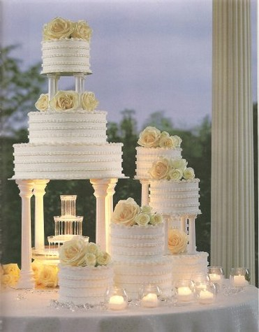 fountain wedding cakes with flowers