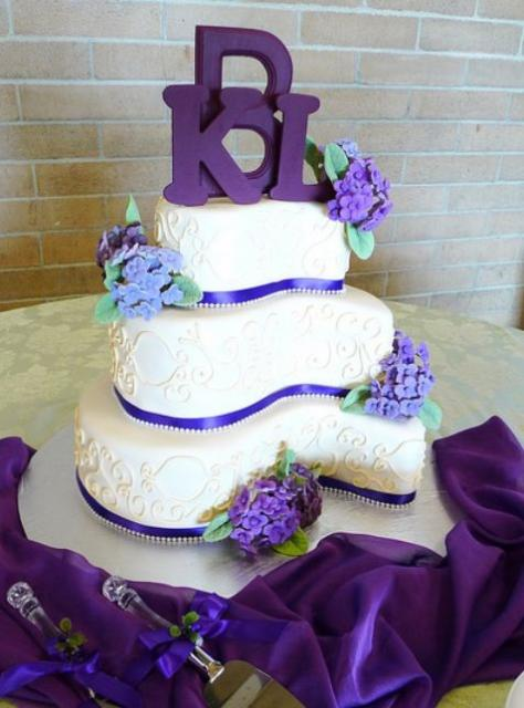 Curvy 3 Tier Wedding Cake With Purple Letter Topper Jpg 1