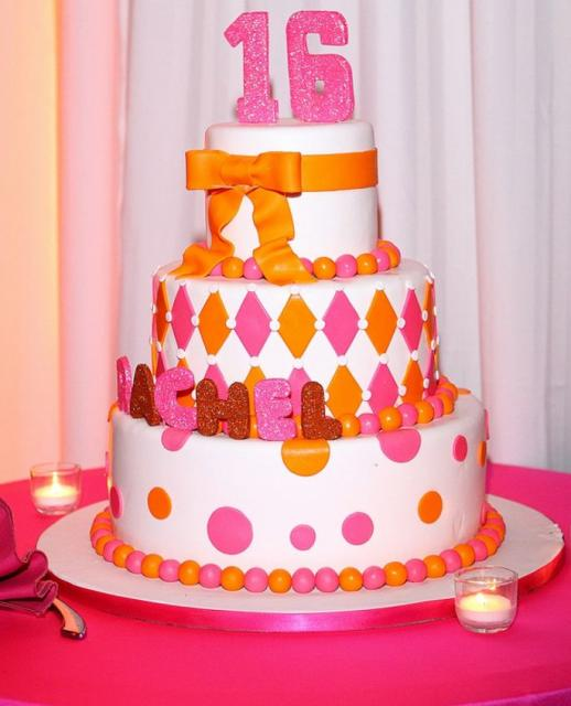 3 tier Sweet 16 round birthday cake with the pink number 16 on top.JPG