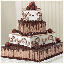 chocolate wedding cake in square