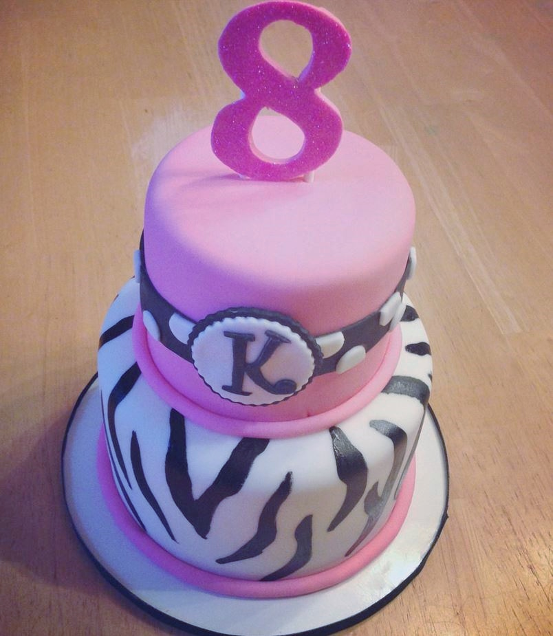 2 Tier Pink & Zebra Stripe Birthday Cake for Eight-year-old Girl with Pink #8 topper.JPG