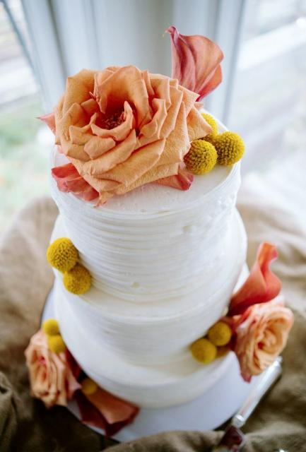 Smaller Size 3 Tier White Round Wedding Cake With Orange Rose Topper
