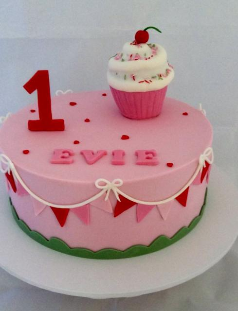 Pink First Birthday Cake for Girl with Cupcake on Top.JPG