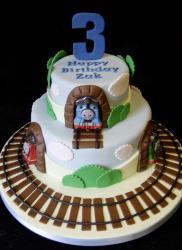 Thomas & Friends 2 tier Birthday Cake Train Tracks Around for 3 year-old.JPG