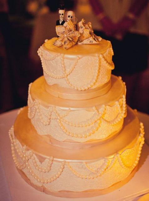 3 Tier Ivory Round Wedding Cake With Day Of The Dead Bride And Groom ToppersJPG