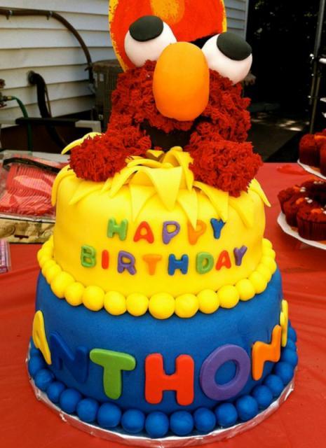 Baby Elmo 2 Tier Kids Birthday CakeJPG