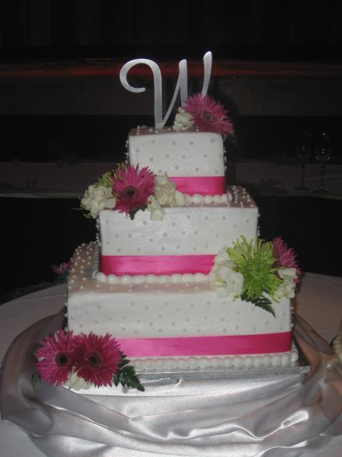 Square White Wedding Cake With Pink Flowers And Lines Hi Res 1440P QHD
