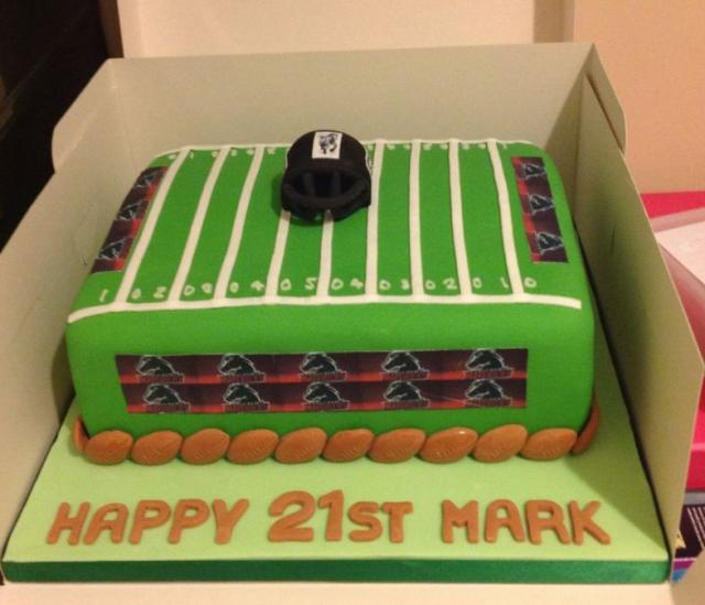 Football Field Birthday Cake For 21 Year OldJPG