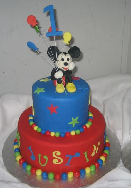 Mickey Mouse 2 Tier First Birthday Cake Jpg