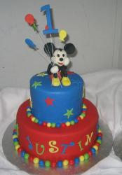 Mickey Mouse 2 tier first birthday cake.JPG
