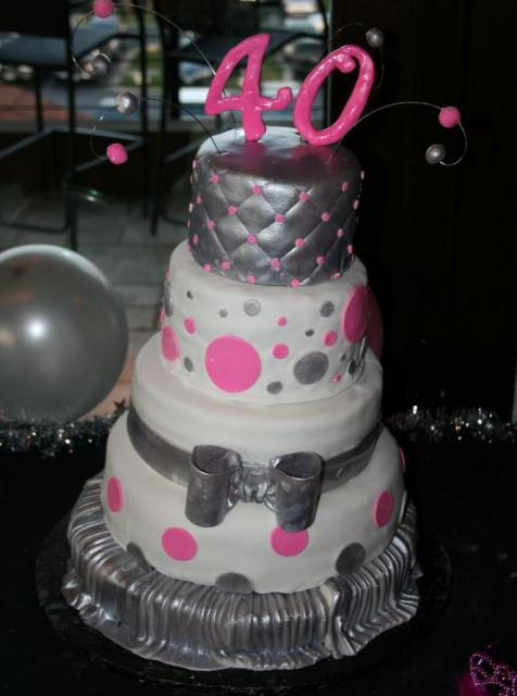 4 Tier Round White And Silver 40th Birthday Cake For Woman