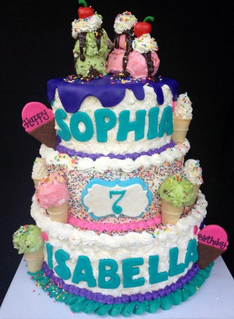 3 Tier Ice Cream Theme Birthday Cake For Girl