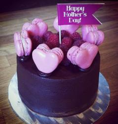 Chocolate Mother's Day Cake with Pink Heart Cookies & Rasberries.JPG