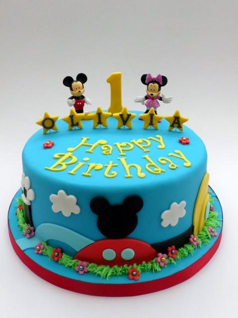 Mickey Amp Minnie Mouse First Birthday Cake In Blue Jpg Hi