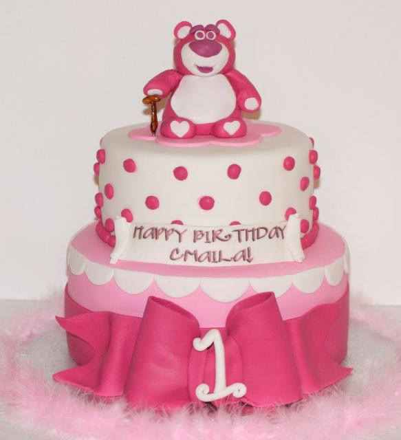 2 Tier Pink Round First Birthday Cake With Large Bow And