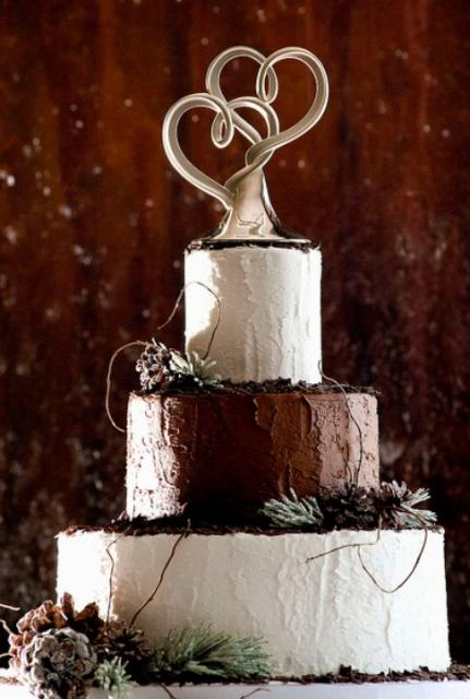 3 Tier Round Wedding Cake With Modern Dual Heart Sculpture TopperJPG