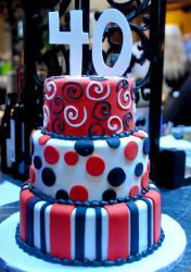 Tri-tier 40th birthday cake with swirls and circles and stripes.JPG
